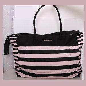 Victoria's Secret Pink & Black Stripes Large Tote